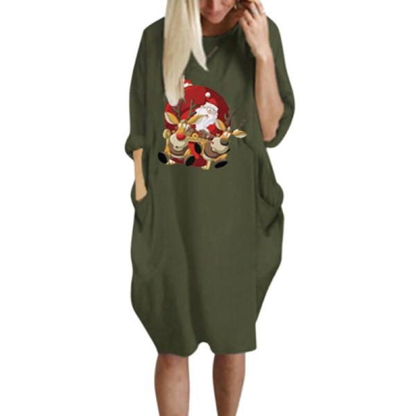 Christmas Women Causal Loose Fit Baggy Short Sleeve Dress Tops Khaki 2XL