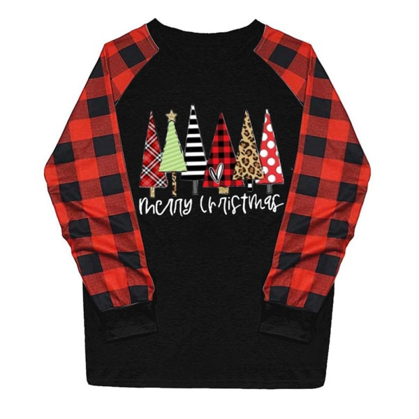 Jul Kvinnor Långärmad Plaid Tree Print Round Neck T-shirt black M