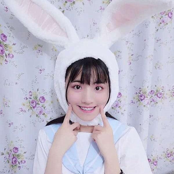 Cute Girl Plush Rabbit Bunny Ears Hat Earflap Cap Head Warmer White
