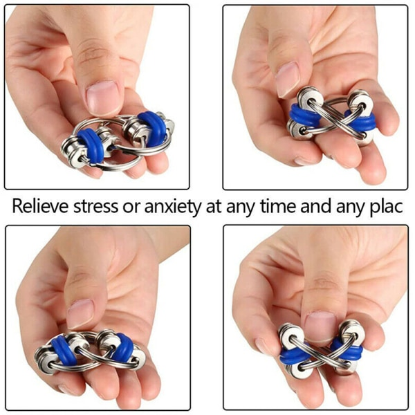 Fidget Bike Chain Ring Finger Spinner Stress Relief Sensory Toy Red
