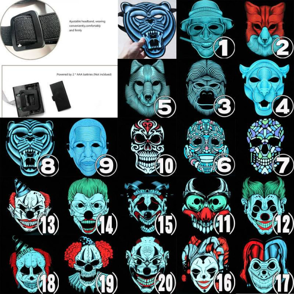 Full Face Party Masks LED lysande LED As pics3