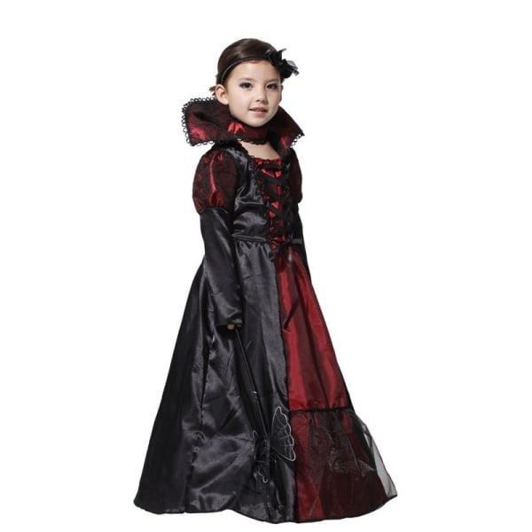Flicka Halloween Cosplay Kostym Barn Witch Vampire black&red L