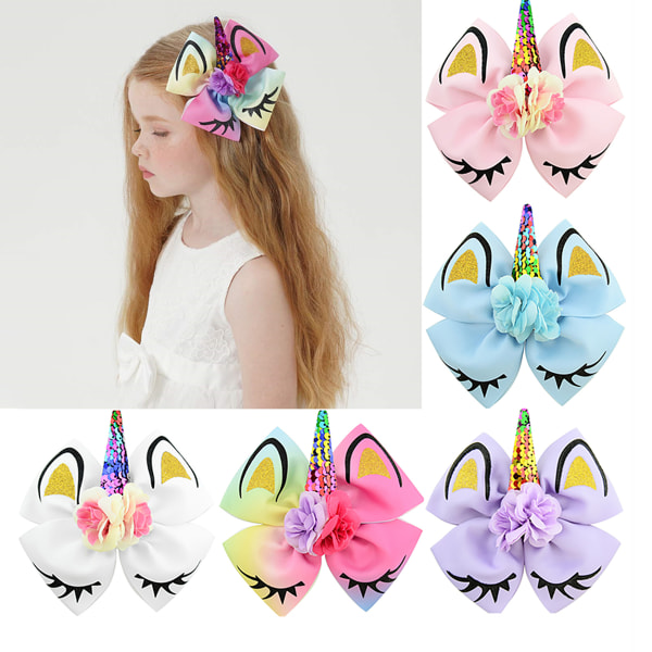 Flickor Unicorn Hair Bow Hair Clip Rainbow Bowknot Party Cute Pink