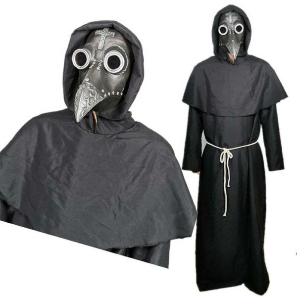 Halloween Costume Props Plague Doctor Bird Mask Long Nose Beak  Gold