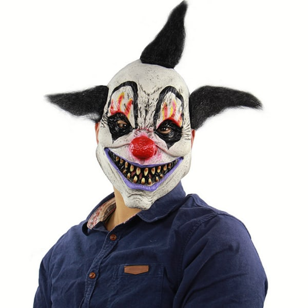 Halloween Dress Up Brunette Wizard Clown Mask