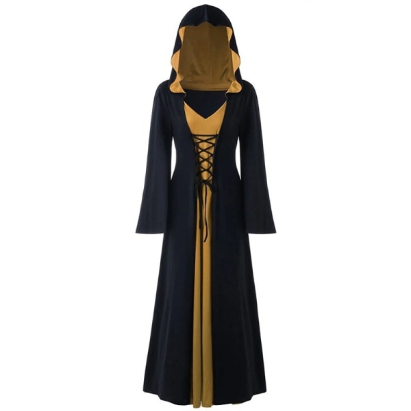Halloween Hoodie Patchwork Witch Costume Women black&red S
