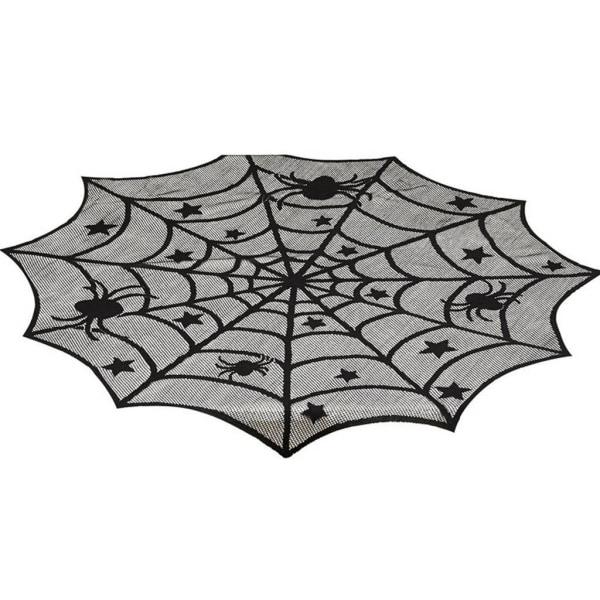 Halloween inomhusdekorationer Spindelnät bordsduk svart As pics 46 x 183cm