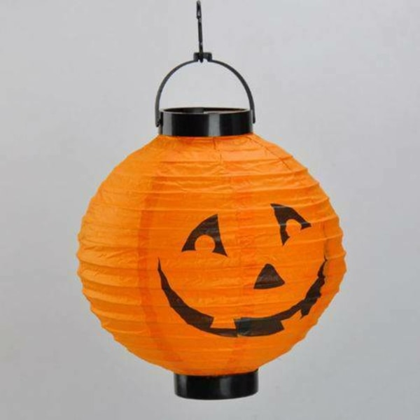Halloween LED Paper Lantern Hanging Pumpkin Bats Spider Lamp Orange
