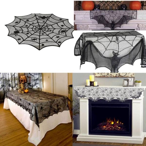 Halloween Spindelnät Eldstad Bordduk Svart bordsduk