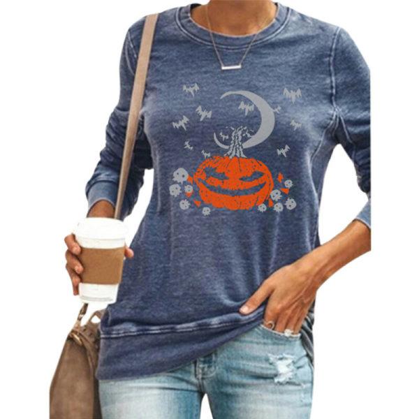 Halloween Women Pumpkin Print Long Sleeve Crew Neck Casual Loose Black L