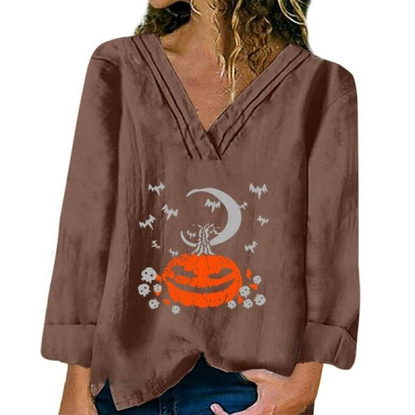 Halloween Womens Print V Neck Long Sleeve Casual Baggy T-shirt White 2XL