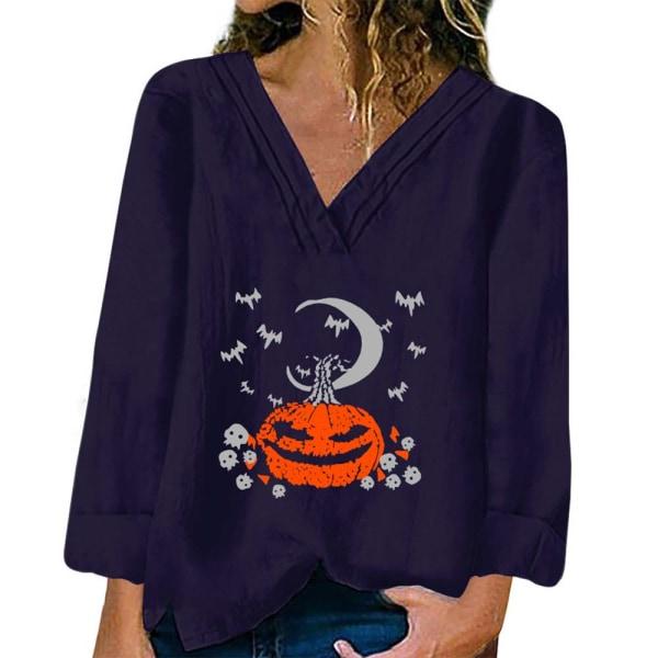 Halloween Womens Print V Neck Long Sleeve Casual Baggy T-shirt Dark Blue M