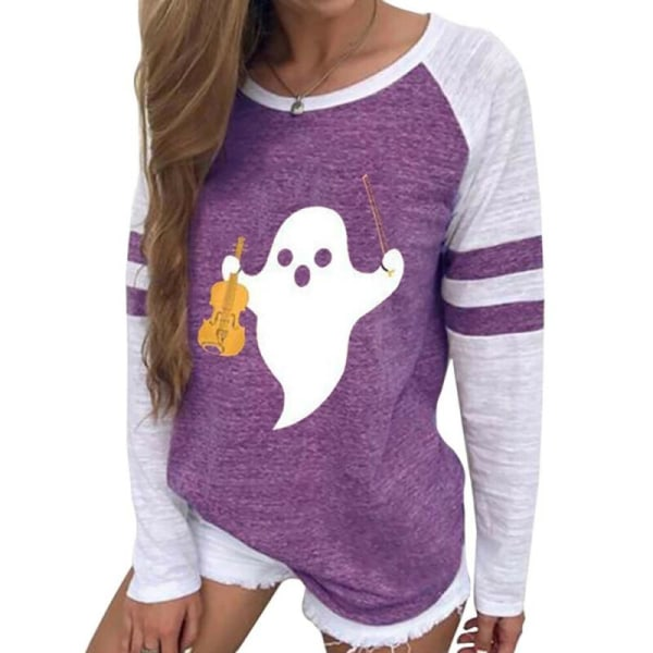 Halloween Womens Printed Crew Neck Long Sleeve Casual T-shirt Black L