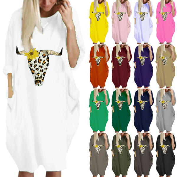 Halloween Womens Printed  Crew Neck Loose Pockets Casual Dress Yellow M