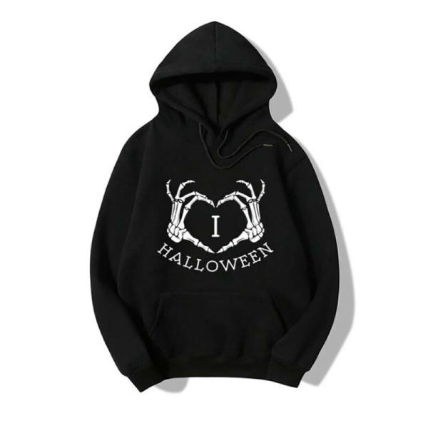 Halloween Womens Skull Printed Long Sleeve Hoodies Ladies Casual White M