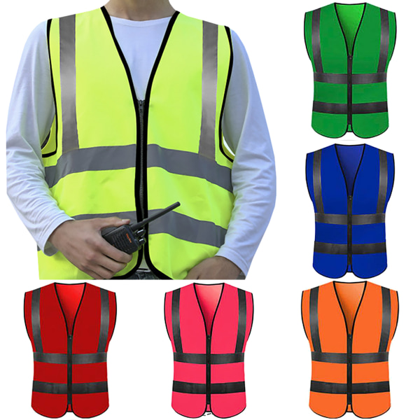 High Visibility Zipper Front Safety Waistcoat With Reflective Maroon L
