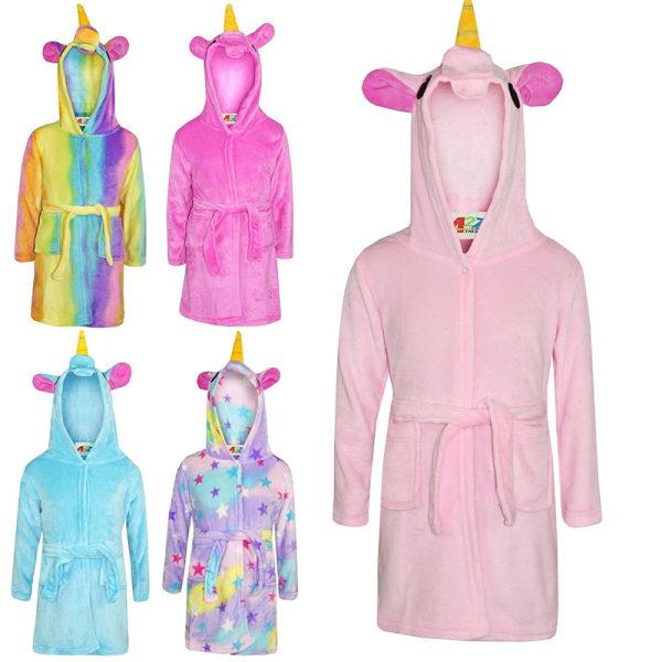 Kids Bath Robe Animal Unicorn Pajamas Night Wear purple 120 cm