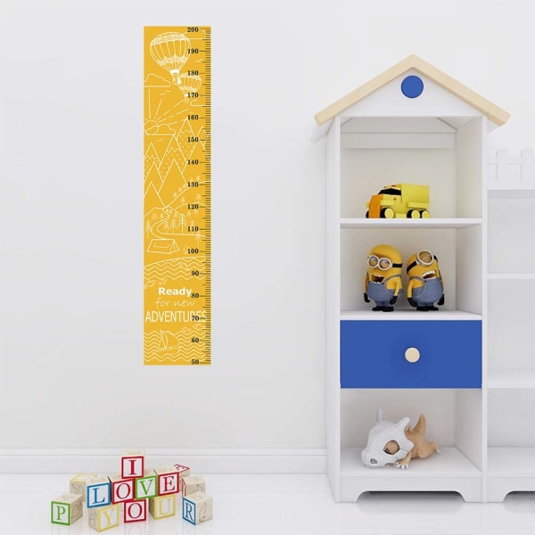 Kids Growth Height Chart Ruler Wall Stickers Children Room Decor orange&yellow 30*151cm