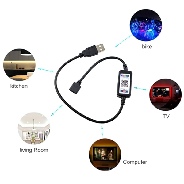 LED Strip Lights TV Back Light 5050 RGB Color Change Bluetooth 5 M