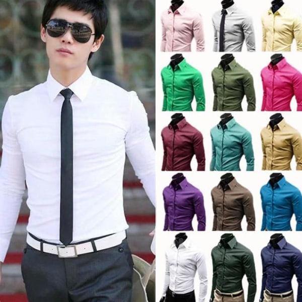 Långärmad klänningskjorta Business coffee L