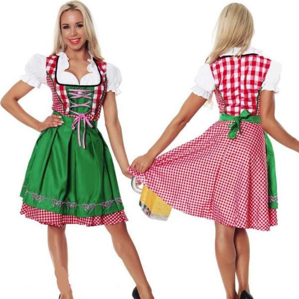Maskerad Halloween Party Cosplay Flickor Söt Pläd Maid Outfit