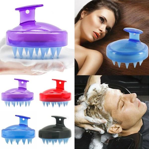 Hair Comb Silicone Head Scalp Massage Hairbrush Black
