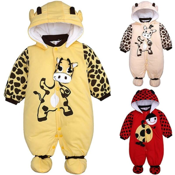Newborn Baby Boy Girl Infant Hooded Romper Bodysuit Jumpsuit Yellow 0-3 Months