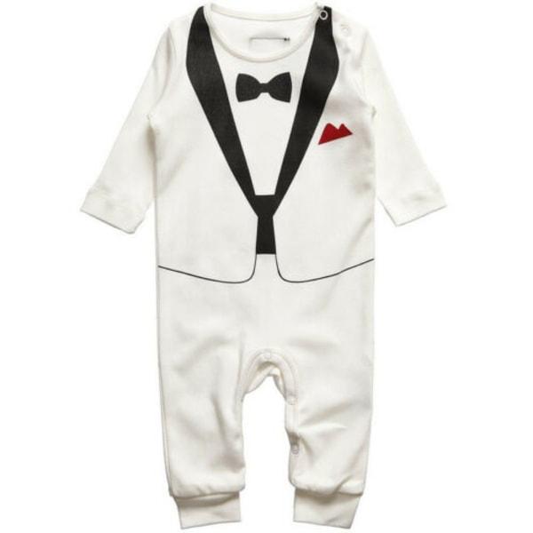 Newborn Baby Kids Formal Suit Wedding Tuxedo Gentleman Romper Red 18-24 Months