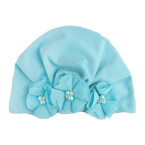 Newborn Toddlers Girls Boys Cute Pearl Flower blue