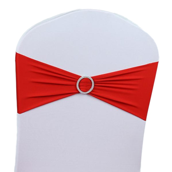 Plain Stretchy Wedding Venue Chair Covers Band Sash Buckle Red