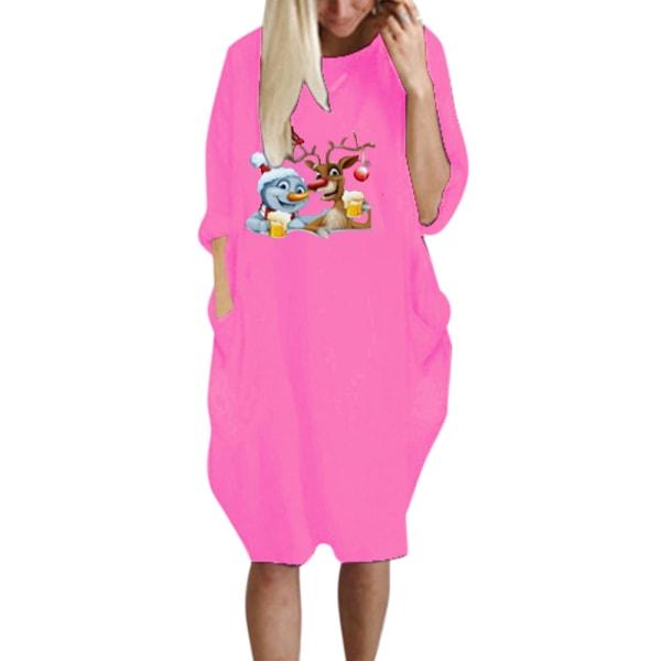 Plus Size Women Causal Fit Baggy Short Sleeve T-Shirt Dress Peach Red L