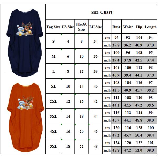 Plus Size Women Causal Fit Baggy Short Sleeve T-Shirt Dress Orange Red M