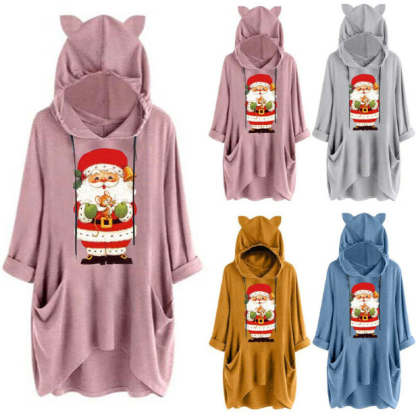 Plus Size Women Christmas Hooded Casual Baggy Hoodie Top Autumn Blue 2XL