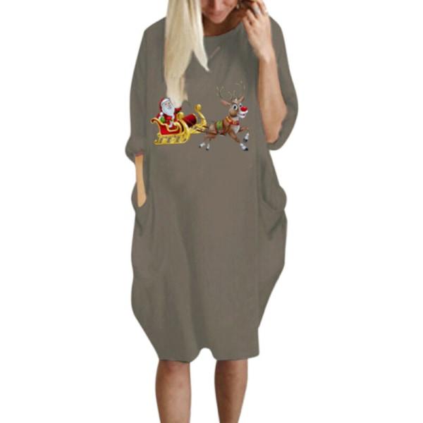 Plus Size Women Christmas Party Long Sleeve T-shirt Midi Dresses Black L