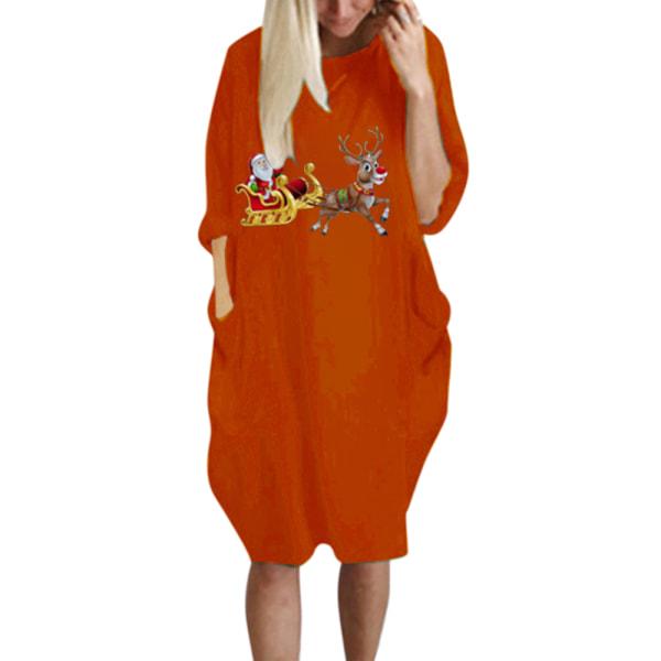 Plus Size Women Christmas Party Long Sleeve T-shirt Midi Dresses Orange S
