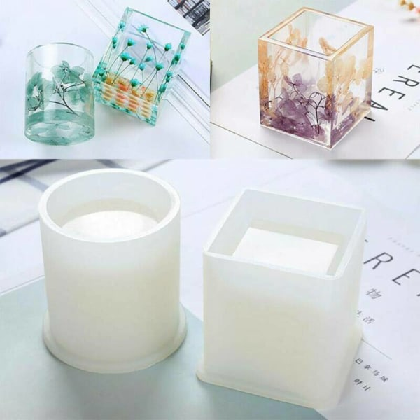 Silicone Craft Mould Mold Square Round Pen Storage Holder DIY Small circle