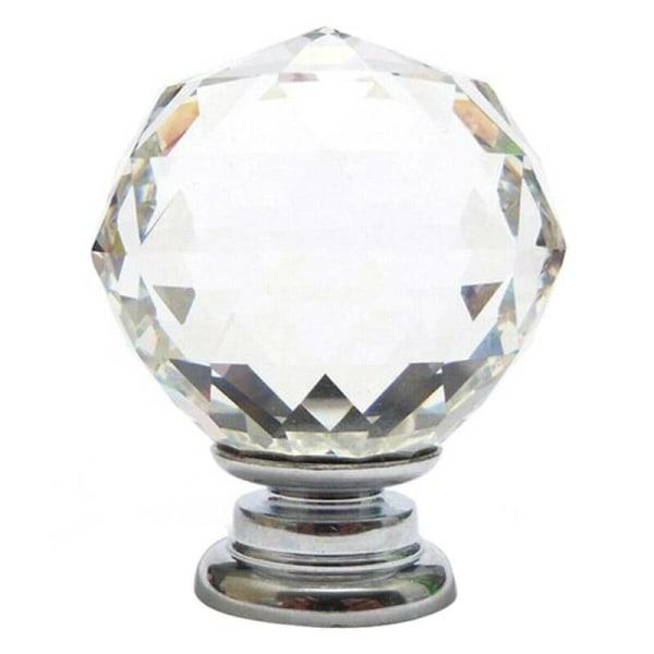 Sfäriskt kristallhandtag Dörrhandtag Lådskuren glasskåp Crystal clear 4PC