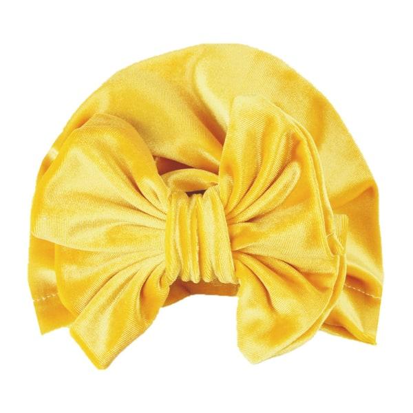 Småbarn Barn Bowknot Head Wrap Hat Gullig mössa Vinter nyfödd baby yellow