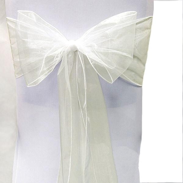 Wedding Party Organza Chair Sashes Plain Bow Sash Decoration Beige 1 Pc