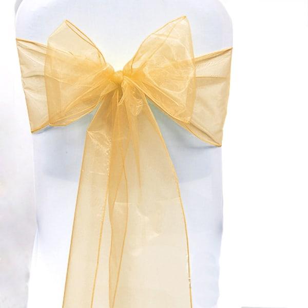 Bröllopsfest Organzastol Skärp Plain Bow Bågfönster Dekoration Light Yellow 1 Pc