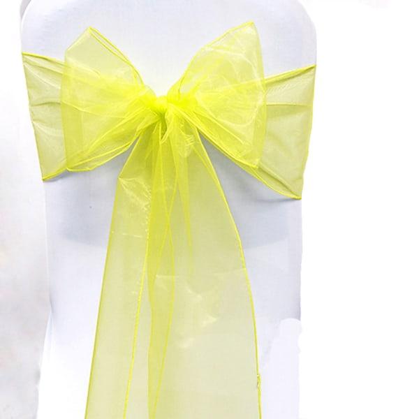 Bröllopsfest Organzastol Skärp Plain Bow Bågfönster Dekoration Yellow 1 Pc