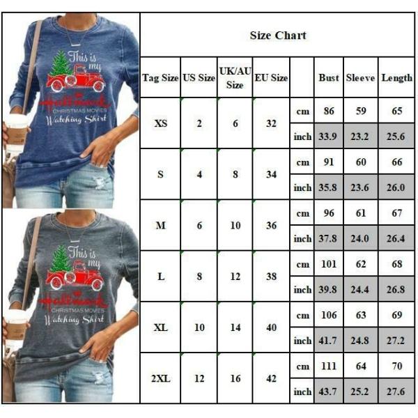 Kvinnor jul bil tryck vinter långärmad T-shirt Xmas toppar