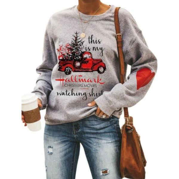 Dam Jultryck Långärmad T-shirt Sweatshirt Xmas Tops Grey L