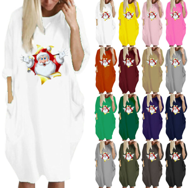 Women Christmas Printed Half Sleeve T-Shirt Dress Tunic Sundress Pink Red L