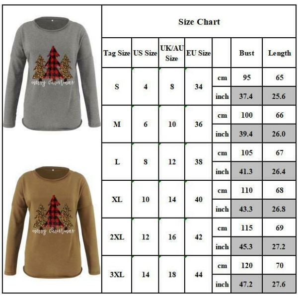 Kvinnors julgran Pullover Sweatshirt Loose Casual Jumper Top Khaki S