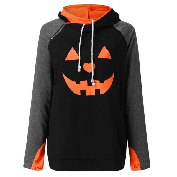 Women Halloween Pumpkin Hoodie Long Sleeve Tops Casual Pullover Black S