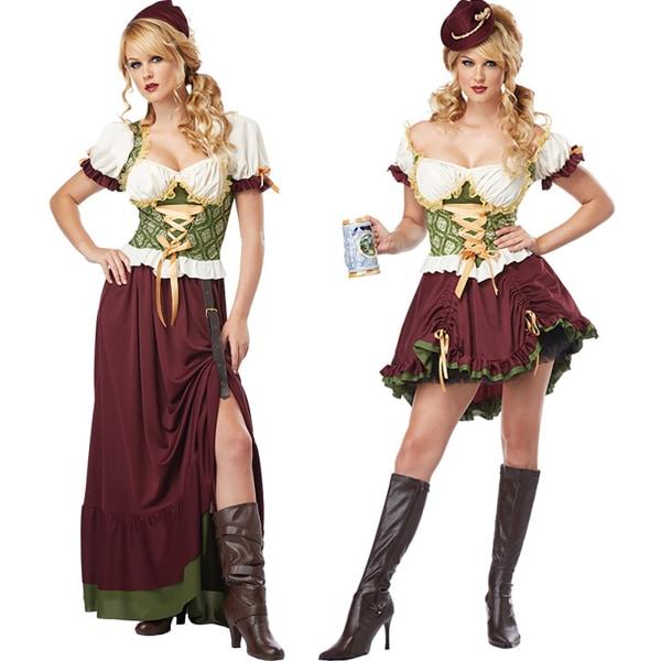 Kvinnors Oktoberfest kortärmad klänning Fancy kostym tyska long S