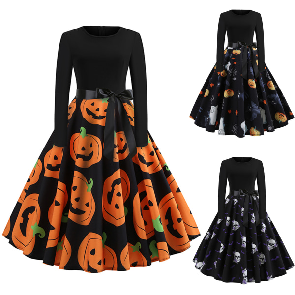 Women Long Sleeve Dress Ladies Halloween Print Big Pumpink L