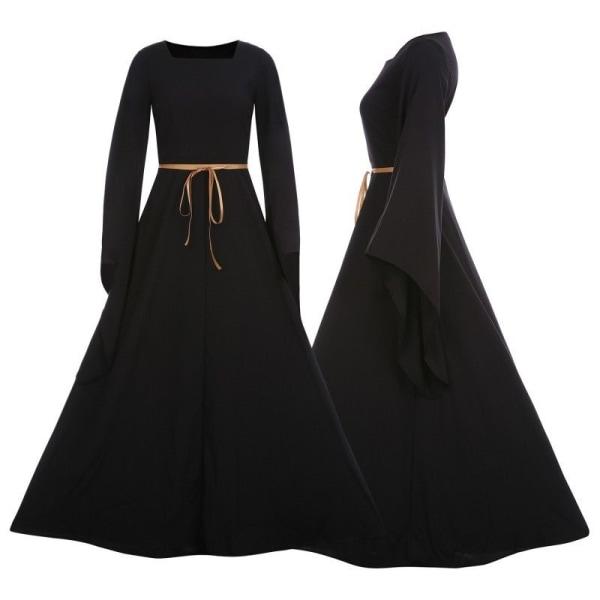Kvinnor Maxiklänning Häxa Cosplay Kläder Halloween kostym black M