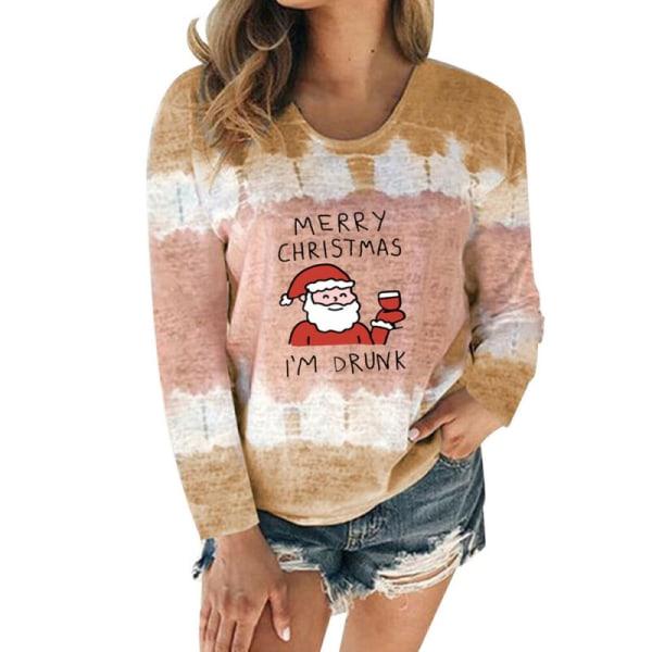 Women Tie Dye Christmas Long Sleeve T-shirt Stanta Claus Xmas Khaki 3XL